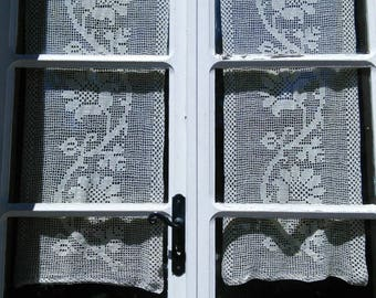 Pair Cotton Lace Crochet Curtains French Vintage Handmade Flower Pattern