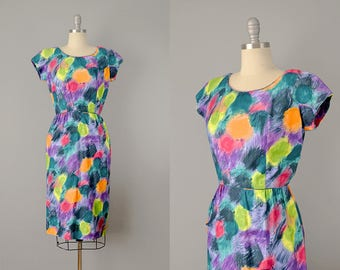 50s Dress // Jerry Gilden 1950s Abstract Painterly Print Cotton Dress // Small