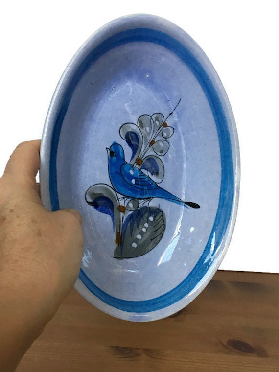 Handmade Mexican bowl vintage oval hand painted blue bird pottery dish
