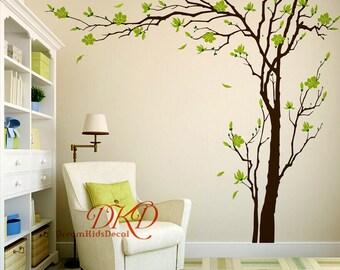 Cherry Blossom Tree Wall Decals Wall Sticker, Living Room Wall Art, Wall Murals-Large Dark Tree White Flower for Nursery-DK264