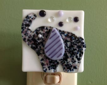 Elephant, Nursery, Purple, Fused Glass, Night Light, Nightlight