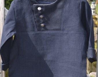 Shirt dark blue linen