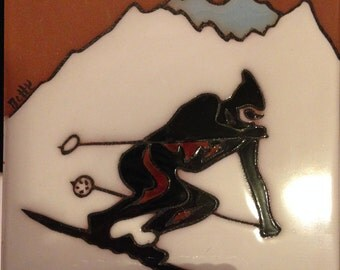 Downhill Racer Ceramic Tile
