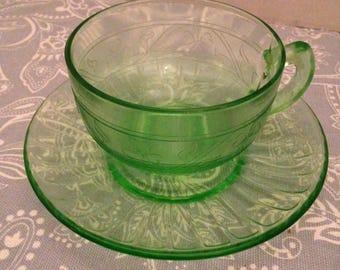 Hazel Atlas Cloverleaf/Shamrock Green Uranium/Vaseline Glass Tea Cup & Saucer