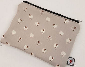 Black and Grey Sheep Pencil, Cosmetic, CSP, Zipped Pouch