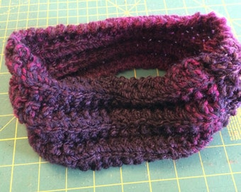 Purple hand knit headband ear warmer coworker gift