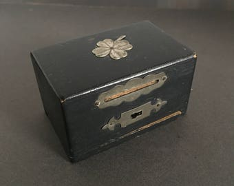 Vintage Wooden Money Box Secret Compartment Silver Inlay