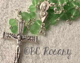 Catholic Recycled Green Glass Rosary
