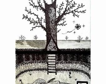 """Underground Sanctuary, 5x7"""" Original Artwork"""