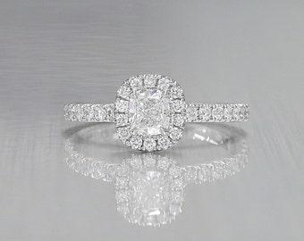 14K White Gold Cushion Diamond Halo Engagement Ring