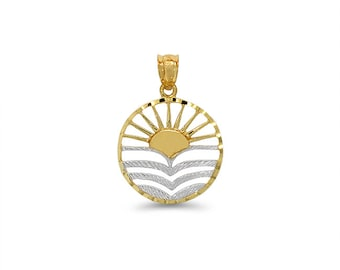 14k solid gold two tone sun and waves pendant. tropical pendant, sunset pendant.