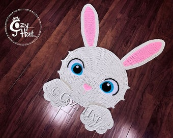READY TO SHIP! Easter Bunny Rug. Hand Crocheted. Only One Available on Sale!