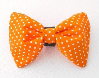 Dog Bow Tie Orange and white Polka Dot, Dog Collar Accessories, Pet Supplies, Pet Collar, Dog Collars, Unique Pet Collar Attachments