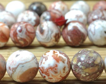 32 pcs of Rainbow Mexican Crazy Lace Agate smooth round beads in 12mm