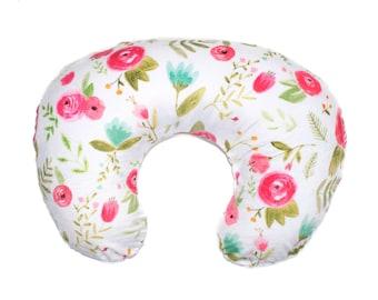 Happy Floral Nursing Pillow Cover, Girl Nursing Cover, Nursing Pillow Cover Happy Floral, Minky Nursing Pillow Cover, Floral Boppy Cover