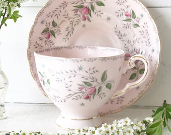 Stunning vintage pink floral Tuscan fine bone china tea cup and saucer
