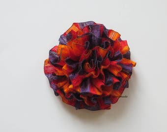 Flower Brooch, Crochet flower pin,  Scarf pin, Lapel pin, Hat brooch, Fashion, Brooches, violet, red, yellow / orange, gifts for her