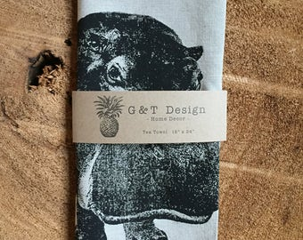 Hippopotamus Screen Printed 100% Linen Tea Towel, Hostess Gift, Hippo Kitchen Cloth