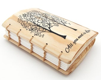 Wood gifts for her Journal All you need is Love Gifts Best Friend Gift for Bride for Wife for Her Gift for Girlfriend Anniversary