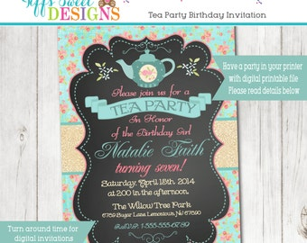 Shabby Chic Tea Party Invitation - Tea Party Birthday - Bridal or Shower
