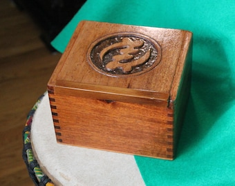 Hand-Carved Wooden Box, Re-Purposed Cigar Box, African Design, Adinkra Symbol (Box No. 191)