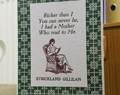 Reading with Mother letterpress Mothers Day Birthday card