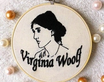 Virginia Woolf embroidery hoop art/Writer stitching/Author wall decor