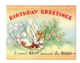 Vintage UNUSED BIRTHDAY Greeting Card Anthropomorphic Bunny Rabbit in Bonnet