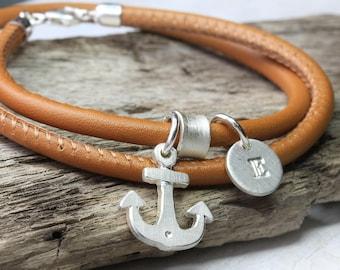 Wrap leather bracelet with 925 Silver anchor, leather bracelet cognac with letter pendant, maritime, beach