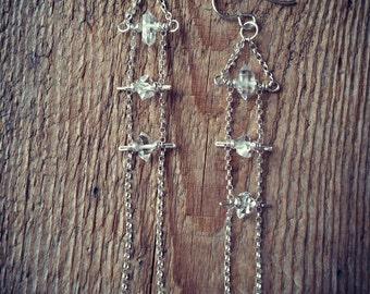 Herkimer diamond ladder earrings sterling silver