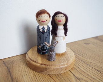 Cute Kitsch Custom Shabby chic Personalised Wooden Peg Doll Wedding Cake Toppers Bride Groom Pet Child option