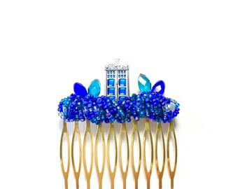 Medium Blue Police Box Comb