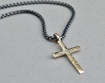 Men's silver chain and 9ct yellow gold cross - 9k gold - Oxidised silver chain - Men's jewellery - Men's chain - Box belcher - 2.5mm chain