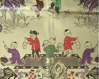 Vintage 1990s Woven Tapestry Tablecloth Children and Dragon Made in China