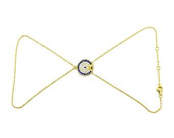 Evil Eye, Hamsa Hand Slave Bracelet, Cubic Zirconia, Gold Vermeil Sterling Silver Slave Bracelet, Ring-to-wrist , AE627