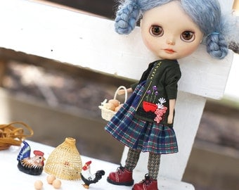 Farmer girl set* / Set of 2 Pcs / Doll clothes for Neo Blythe , Pullip ,Licca dolls.