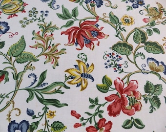 Vintage cotton furnishing fabric with flowers, butterflies, birds and chicks