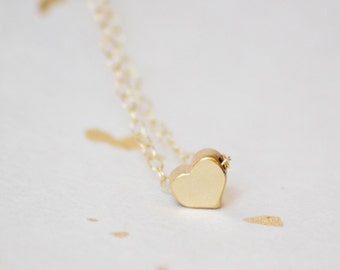 Solid Gold Heart Necklace, Heart Necklace, Solid Heart Necklace, Heart Necklace Gold, Gold Heart Necklace, Tiny Gold Heart Necklace