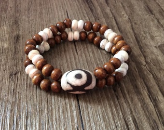 Wood and Howlite Stretch Bracelet - Double Bracelet - Men's Bracelet - Bead Bracelet, Wood Bracelet