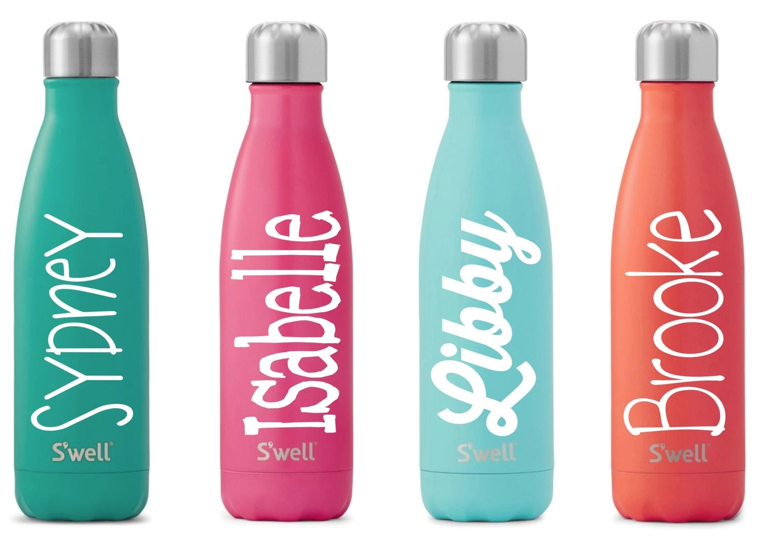 S39well water bottle with personalized custom name satin for Custom bottled water bottles