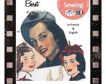 1950s Vintage French Sewing Pattern - Beret - Hat - PDF hat pattern - PDF Instant Download