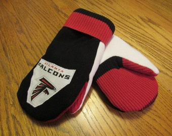 Recycled Sweater Mittens (non wool) - Atlanta Falcons Medium Size