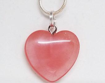 Cherry, Quartz, Heart, Pendant, Gemstone, Crystal, Necklace