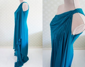 Sheer Bondi blue party dress, flapper style. Small size party flapper dress.
