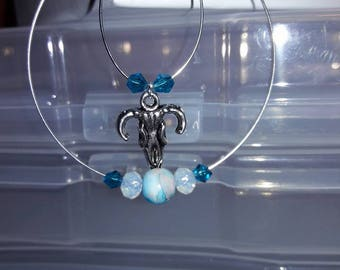 Silver double looped handcrafted Western style women's earrings