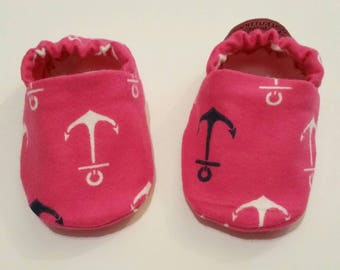 Pink Anchor Baby Booties, Nautical Baby Shoes, Anchor Baby Slippers, Baby Gifts, Baby Crib Shoes, anchor Baby Moccs, Anchor Baby Shoes