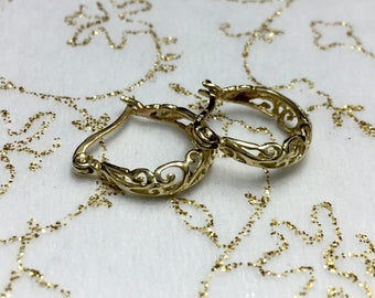 14k Solid Gold Filigree Hoop Earrings