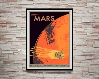 Reprint of a NASA/JPL SpaceX Poster - Visit Mars