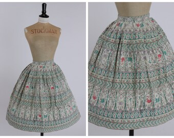 Vintage original 1950s 50s novelty Springmaid PinUp print cotton skirt uK 8 US 4 XS S