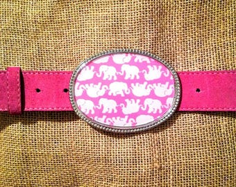LIlly Pulitzer inspired belt buckle for snap belts, with or without pink suede belt-Tusk In Sun pink belt
